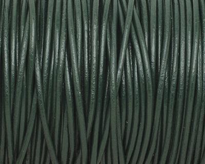 Dark Green Round Leather Cord 2mm