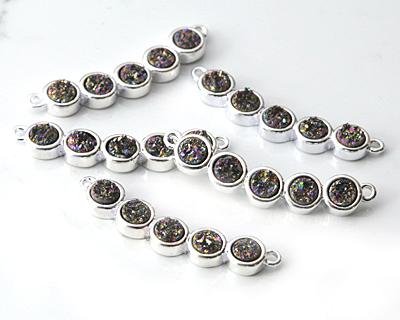Metallic Peacock Druzy 5-Stone Focal Link in Silver Finish Bezel 34x6mm