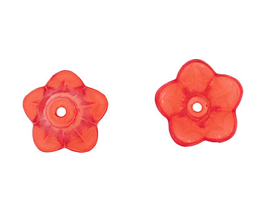 Lucite Transparent Ruby 5 Petal Mini Bellflower 11x14mm