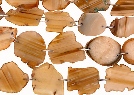 Beige Agate w/Rings Natural Edge Freeform Faceted Slab 38-58x28-38mm