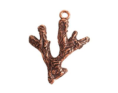 Nunn Design Antique Copper (plated) Coral Charm 21x27mm