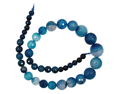 Sky Blue Line Agate Faceted Round Graduated 6-15mm
