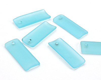 Turquoise Bay Recycled Glass Bottle Curve Rectangle 14x35mm