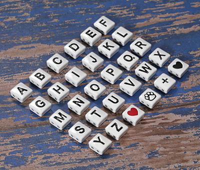 """White Enamel 2-Hole Tile Square Bead w/ Letter """"N"""" 8mm"""