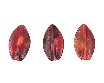 Patricia Healey Copper Ridged Leaf 26x15mm