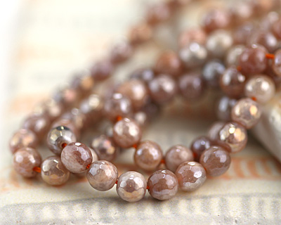 Peach Moonstone w/ AB Luster Faceted Round 6mm