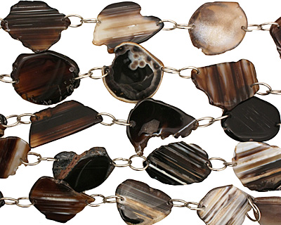Black Line Agate w/Rings Natural Edge Freeform Faceted Slab 45-60x30-40mm