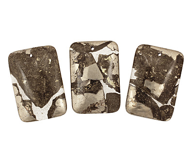 Golden Pyrite (silver tone in resin) Rectangle Pendant 32x47mm