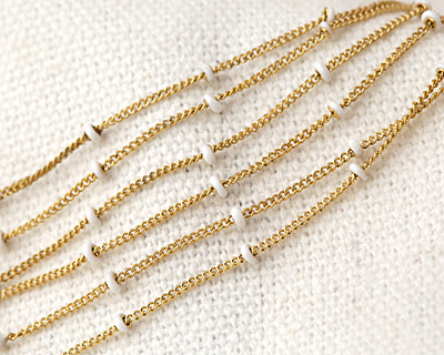 Gold (plated) Stainless Steel White Satellite Chain