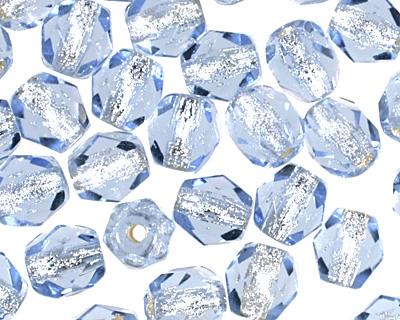 Czech Fire Polished Glass Silver Lined Light Sapphire Round 4mm
