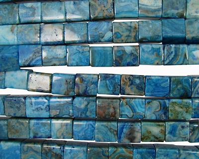 Larimar Blue Crazy Lace Elongated Cube 14x13mm