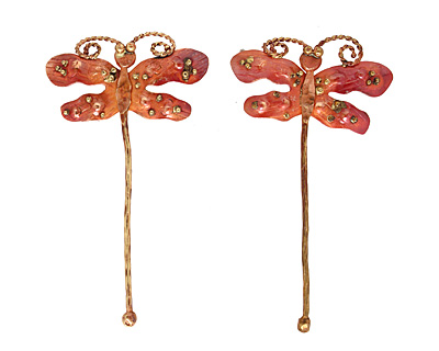 Patricia Healey Copper Dragonfly Pendant 54x97mm