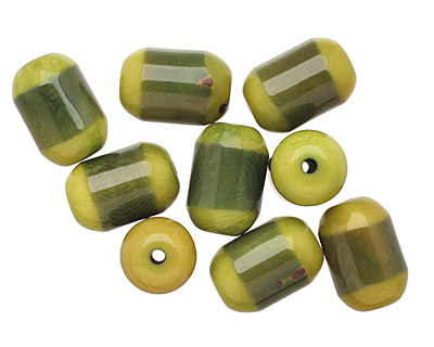 Tagua Nut Forest Green Bicolor Barrel 23-24x16-17mm