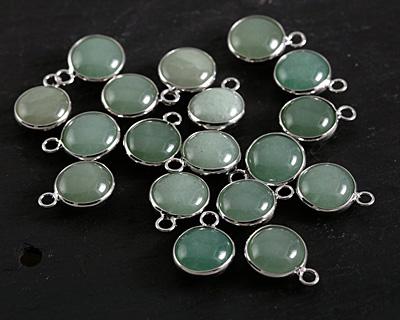 Green Aventurine Coin Focal w/ Silver Finish 13x17mm