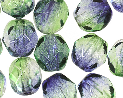 Czech Fire Polished Glass Dual Coated Blueberry/Green Tea Round 6mm