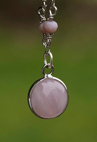 Lavender Quartz Coin Focal w/ Silver Finish 13x17mm