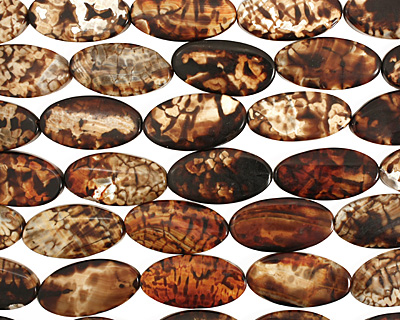 Leopard Fire Agate Flat Oval 39-41x20-21mm