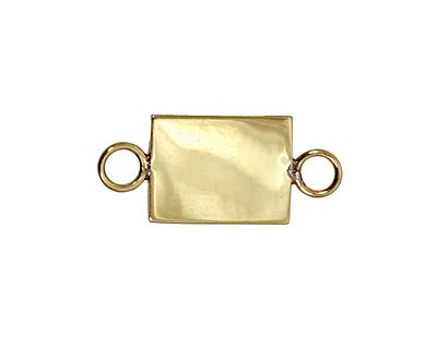 Brass Rectangle Bezel Link 21x16mm
