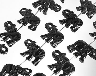 Black Onyx Elephant Pendant 20-28x31-36mm