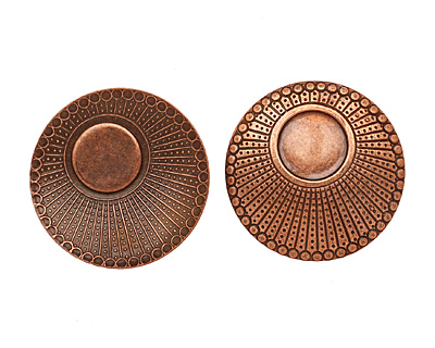 Stampt Antique Copper (plated) Dotted Setting 34mm (no drill hole)