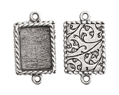 Nunn Design Antique Silver (plated) Mini Ornate Rectangle Bezel Link 24x14mm