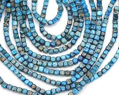 Larimar Blue Crazy Lace Round Edge Cube 7mm