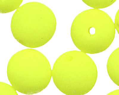 Czech Glass Bright Neon Yellow Round 6mm