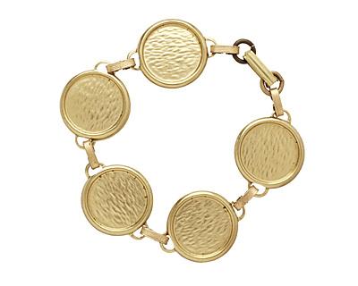 Brass Circle Bezel Link Bracelet 22mm