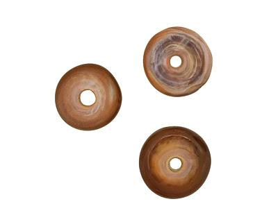 The BeadsNest Lampwork Glass Earth Brown Saucer 4-5x15-16mm