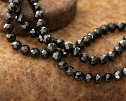 Black Tourmaline (A) Faceted Round 4mm