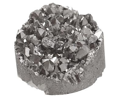 Druzy (metallic silver) Round Cabochon 25mm