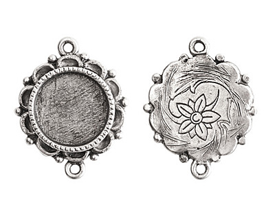 Nunn Design Antique Silver (plated) Mini Ornate Circle Bezel Link 25x19mm