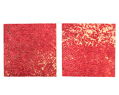Lillypilly Red Wine Raised Flower Embossed Patina Copper Sheet 3