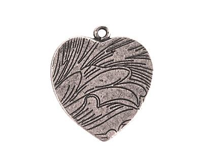 Nunn Design Antique Silver (plated) Traditional Heart Bezel Pendant 23x27mm