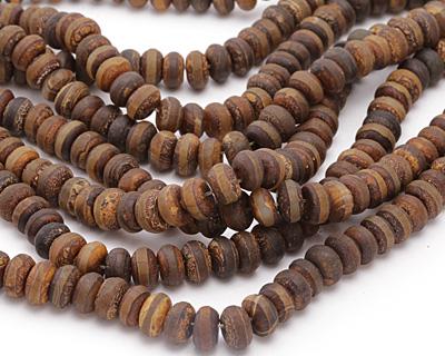 Tibetan (Dzi) Agate (dark) Matte Rondelle 7-8x11-12mm