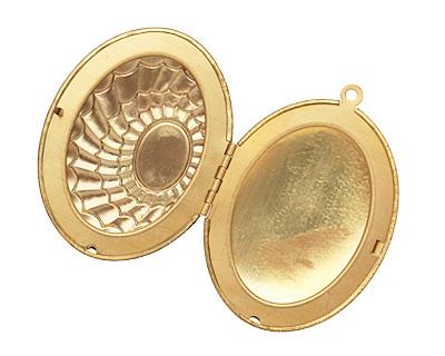 Brass Oval Scalloped Shell w/Cab Setting Heirloom Locket 48x64mm