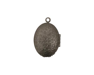 Gunmetal Oval Filigree Heirloom Locket 17x25mm