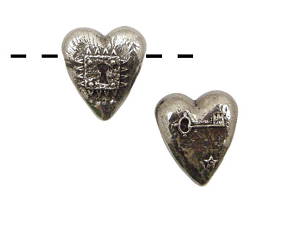 Green Girl Pewter Locked Heart 17x20mm