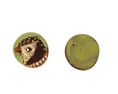 Humble Beads Polymer Clay Wild Bird Pendant 29-30mm