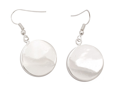 Silver (plated) Circle Bezel Earrings 19mm