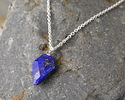 Lapis Faceted Arrow Pendant w/ Silver Finish 11-12x19-20mm