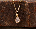 Clear CZ Gold (plated) Stainless Steel Teardrop Charm 5x12mm