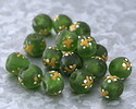 African Recycled Glass Green w/ Hand-Painted White & Yellow Print Round Bead 12-16mm
