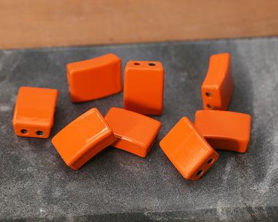 Orange Enamel 2-Hole Tile Rectangle Bead 12x8mm