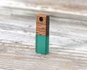 Walnut Wood & Emerald Resin Rectangle Focal 6x17mm