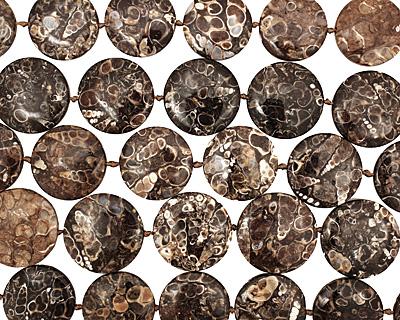Turritella Agate Puff Coin 28-30mm