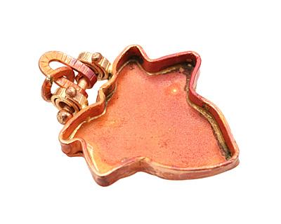 Patricia Healey Copper Leaf Bezel Pendant 33x45mm