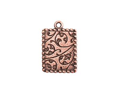 Nunn Design Antique Copper (plated) Mini Ornate Rectangle Bezel Pendant 14x21mm