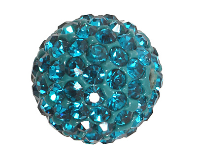 Teal Pave Round 12mm