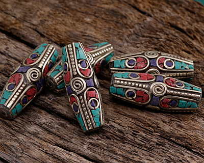 Tibetan White Brass Large Rice Bead w/ Coral, Turquoise & Lapis Mosaic 34-35x13-15mm